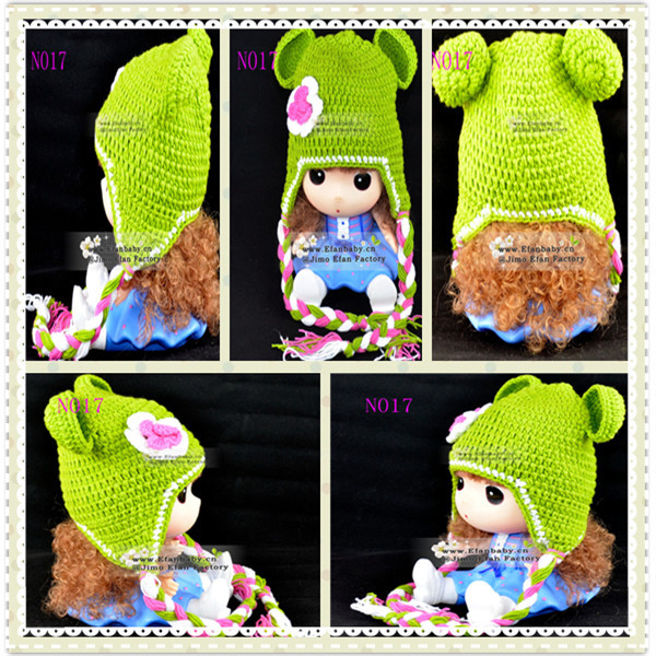 2014 New design crochet baby hat baby girl crochet flower hats(China (Mainland))