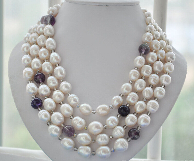 FREE SHIPPING **z6011 4strands 15mm white rice freshwater pearl crystal tower necklace 21inch<br><br>Aliexpress