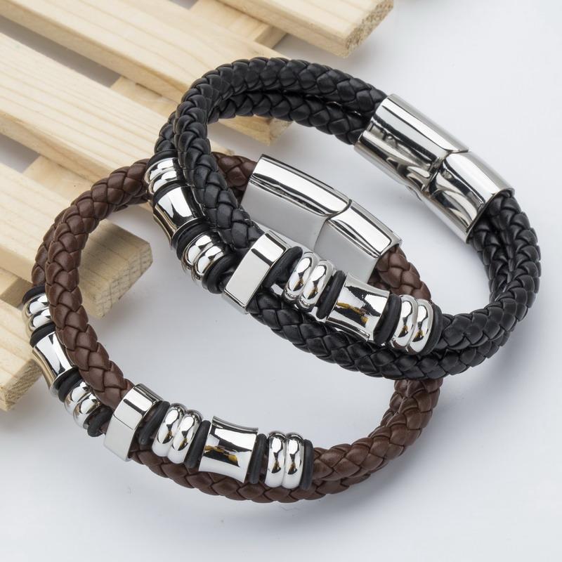 new 2016 top brand genuine leather men bracelets european. Black Bedroom Furniture Sets. Home Design Ideas