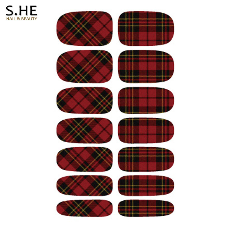 Charm Black Red Stripe Plaid Design Nial Stickers Resin Nails Sticker Art Water Transfer Decals Wraps Free Shipping(China (Mainland))