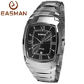 EASMAN Mens Tungsten Steel Watches Luxury Sapphire Glass Silver Black Waterproof Date Show Dress Business Wrist