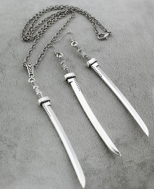 "Coolest Unique Stuff Vintage Silver Tone Jewelry 4.2""Long Sword 30""Necklace set CA02 Freeshipping(China (Mainland))"