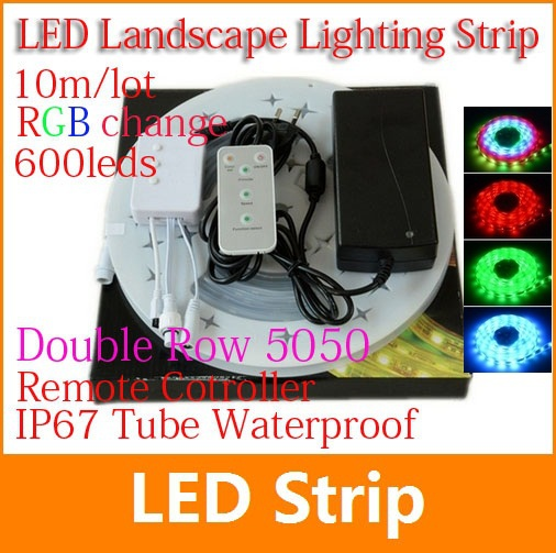 10M 600led/m Double Row LED Strip Light flexible RGB 5050 waterproof IP67 LED strip + 5key Remote control and 10A power adapter(China (Mainland))