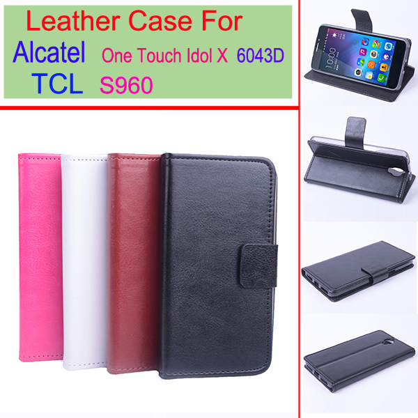 Alcatel One Touch Idol X+ 6043D 6043 case Baiwei brand flip leather cover for TCL S960 wallet style with stand function(China (Mainland))