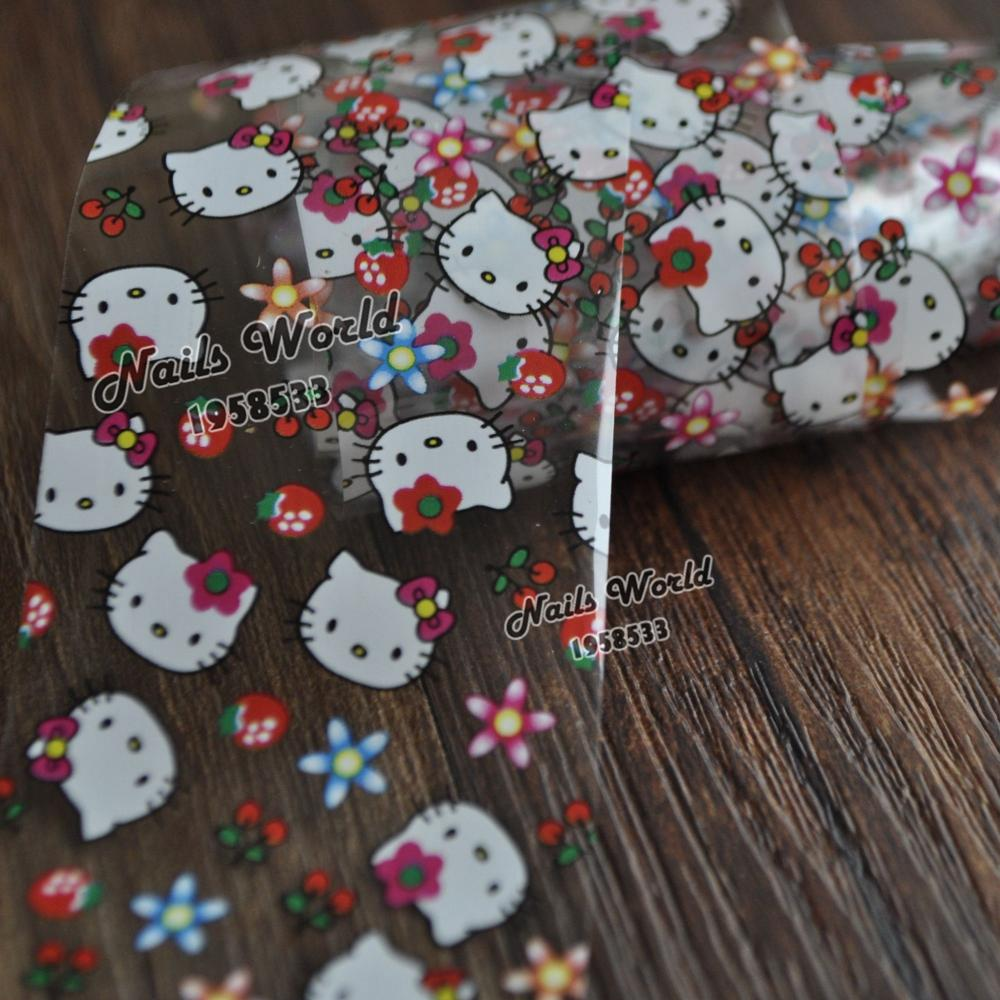White Cat Heat Beauty Transfer Foil Nail Art Stickers For Nails DIY Decorations Tools S441(China (Mainland))