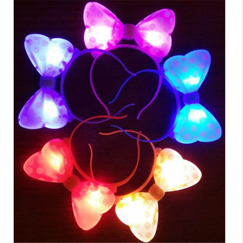 Different Quality Cute Light-Up Bowknot Headband Minnie Mouse Polka Dot Blinking LED Flashing Party New(China (Mainland))
