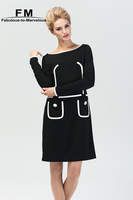Long Sleeve Knitted Winter Dress Black And White Bodycon Dress New Arrival Women Dresses Brand 2015 High Quality Dress AW15D014
