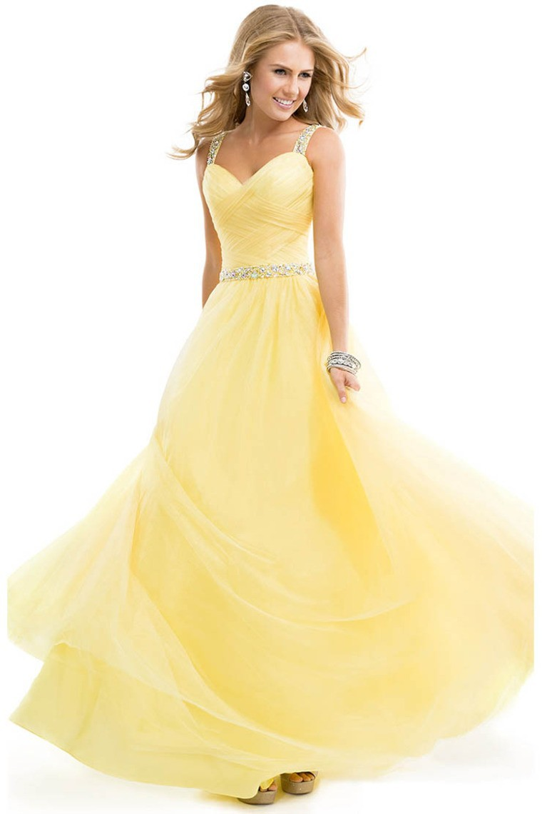 Buy ready to post stylish straps yellow for Yellow wedding dresses for sale