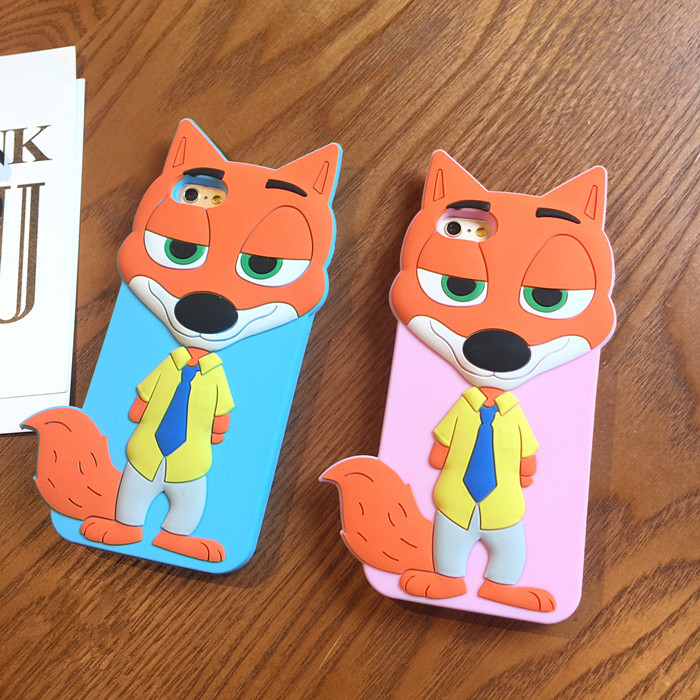 Zootopia Case 3D Cartoon Fox Nick Soft Silicone Case For iPhone SE 5 5s 6/6s 6/6s Plus Silicon Fundas Back Cover(China (Mainland))