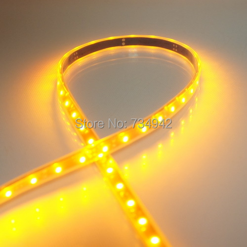Waterproof-IP67 Five Meter DC 12V Dimmable SMD3528 Flexible LED Strips 60 LEDs Per Meter 8mm Width PCB, Black Background<br><br>Aliexpress