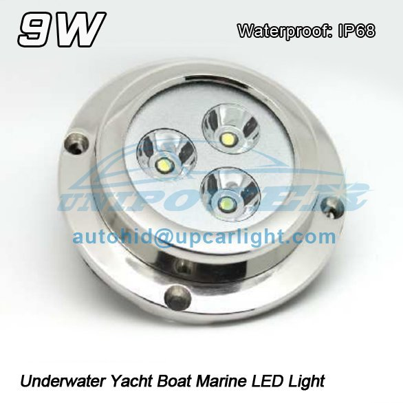 Free shipping IP68 DC 12v 9w Underwater Yacht Boat Marine LED Light Under water fishing light, wake board lamp