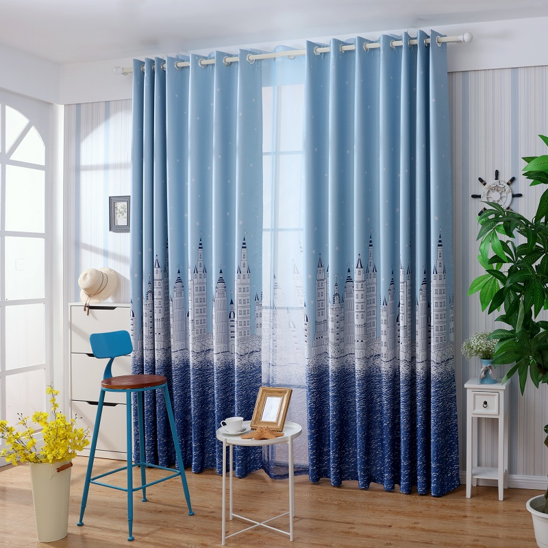 Window curtains for bedroom Polyester Blackout curtains for living room  Children Room Blue Castle Pattern cortinas. Online Buy Wholesale bedroom children room curtains blue from