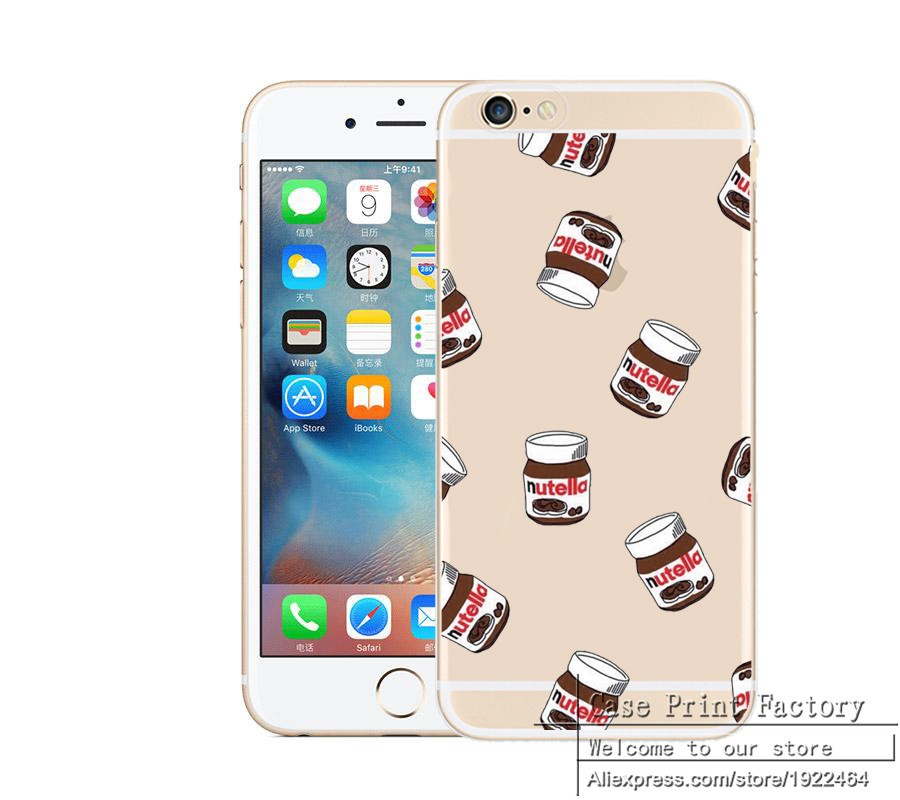 Cute Tumblr Nutella Design Transparente Silicone Case Cover For iPhone 4 4S SE 5 5S 5C 5C 6 6s 6plus 6SPlus TPU Cell Phone Cases