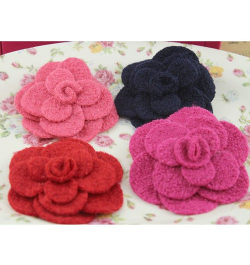 8.7cm Worsted flower DIY Hair /shoe/bag/ brooch/headband accessories 8 colors D0044L<br><br>Aliexpress