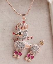 The new vintage crystal dog pendant necklace jewelry fashion Rhinestone necklace jewelry animal women's clothing(China (Mainland))