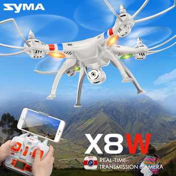 SYMA X8W Drones Quadcopter 2.4G 4CH Drone UAV RTF RC Helicopter Dron With Camera HD Wifi Real Time FPV Headless Rotating