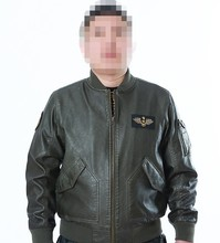 Cool Mens MA1 Bomber Leather Jacket PU Green Black Army Military Flight Pilot Jacket Plus Size AY551(China (Mainland))
