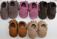 20colors New Suede Genuine Leather Newborn Baby Infant Toddler Moccasins Soft Moccs Babe Soft Soled Non-slip Prewalker Shoes(China (Mainland))