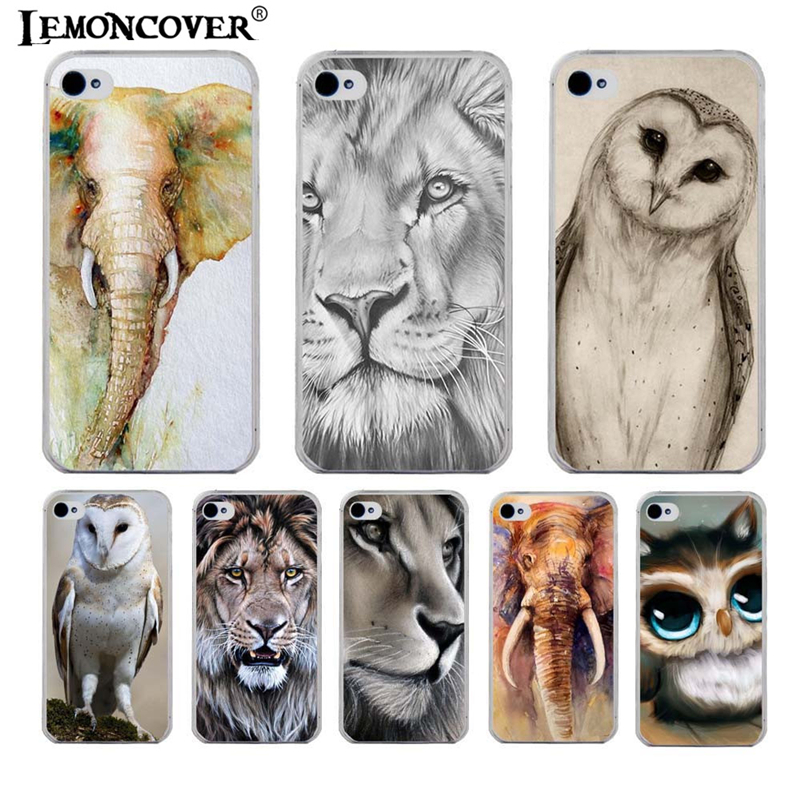 Comic Owl Animal Lion Phone Case For Apple iPhone 4 Soft Plastic Shell Back Cover Case For iPhone 4S Tiger Elephant Gift(China (Mainland))