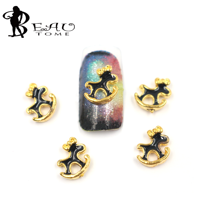 10pc 3d nail art supplies alloy nais art decoration charm jewelry gold horse design for glitter rhinestone nail accessories M601(China (Mainland))