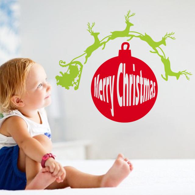 С рождеством христовым украшения санта-клаус оленей окно стена наклейка дед мороз подарок mas13