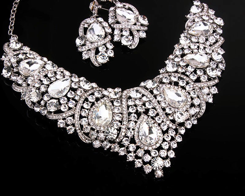 Новая Мода Чешский Горный Хрусталь Кристалл Свадебные Ювелирные Наборы Африканский Комплект Ювелирных Изделий Ожерелье Серьги