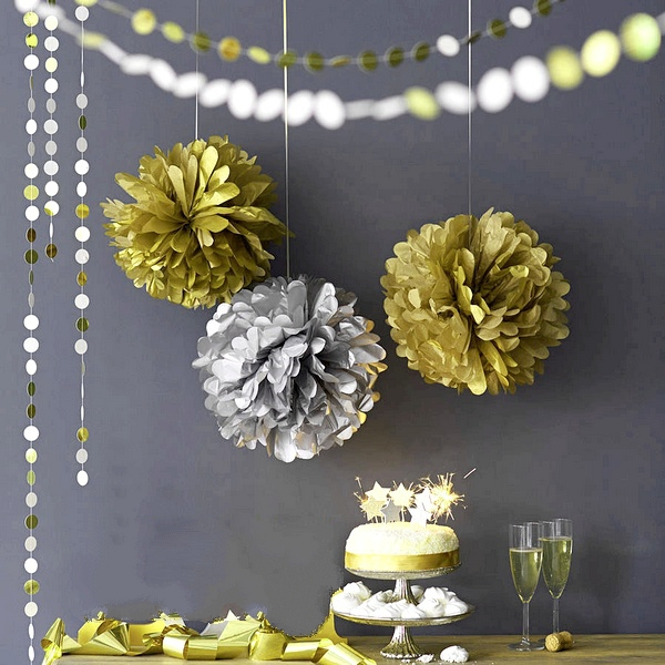"Metallic Gold 9pc Mix 6""/8""/10"" Tissue Paper Pom Poms Decorative Flower Balls Hanging Decor Showers Party Birthday Wedding(China (Mainland))"