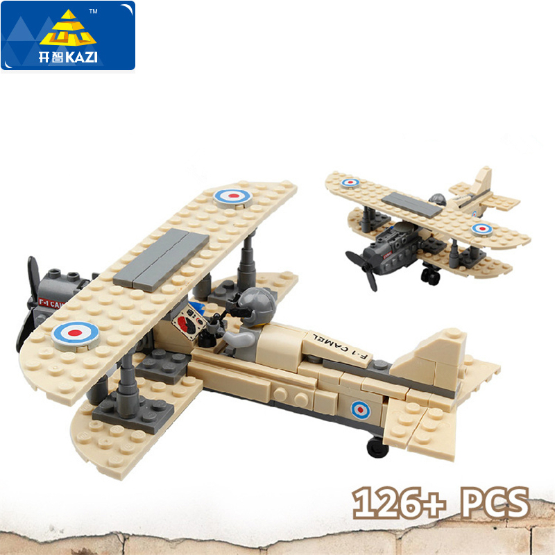 Kazi Military Army Sopwith F-1 Camel Fighter Helicopter Minifigures Blocks British Royal Air Force Model Brick Toys For Kid Gift(China (Mainland))