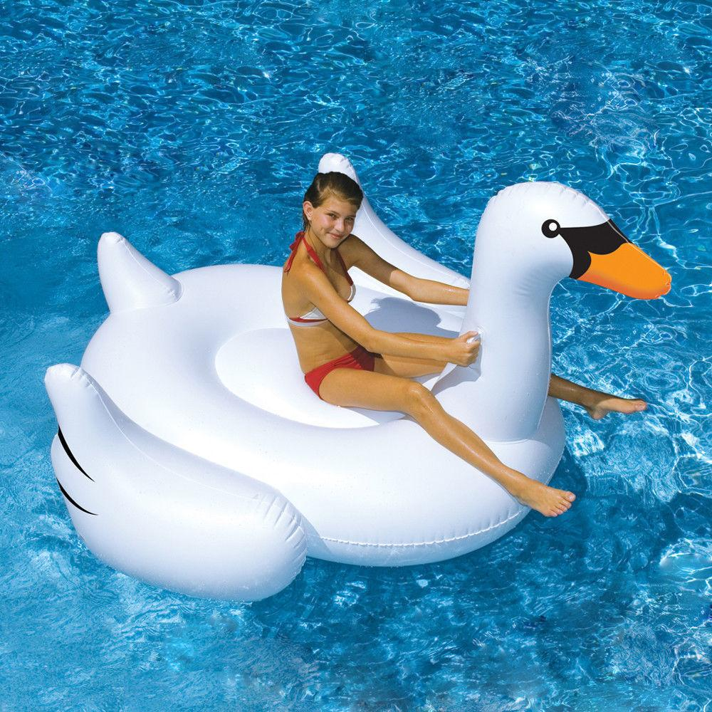 White New Summer Lake Swimming Lounge Pool Kid Giant Rideable Swan Inflatable Float Toy Raft Good Quality(China (Mainland))