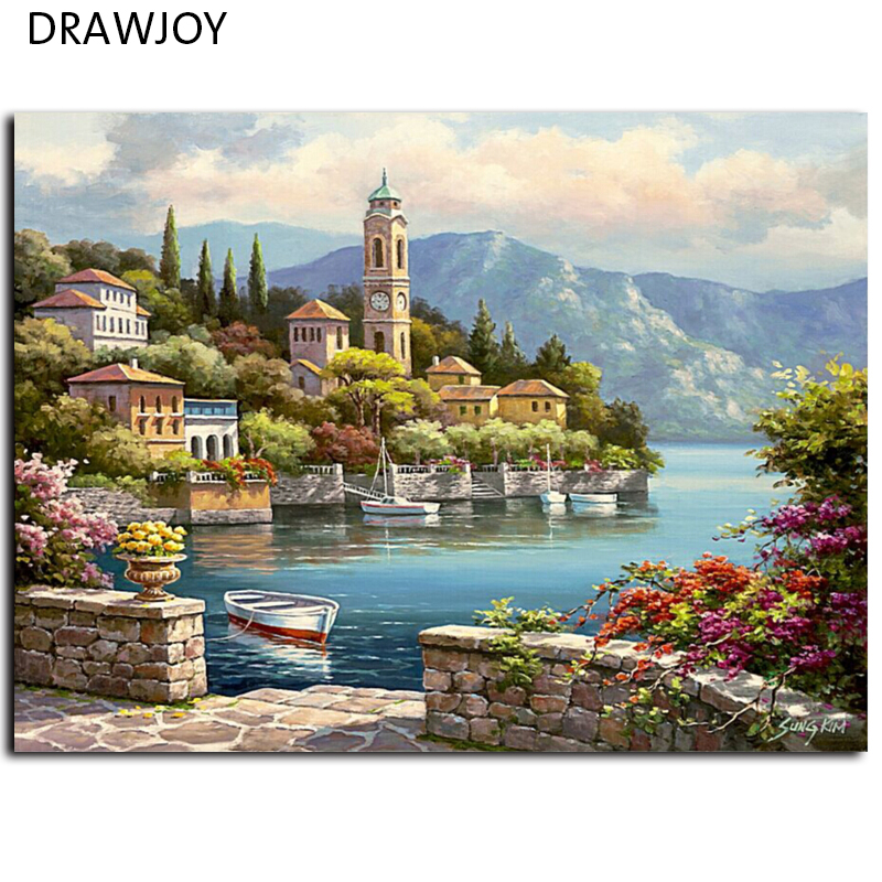 Frameless Home Decor Picture Painting By Numbers Wedding Decor DIY Canvas Oil Painting Wall Art For Living Room Picture(China (Mainland))