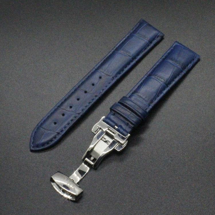 bracelet montre cuir bleu 22mm. Black Bedroom Furniture Sets. Home Design Ideas