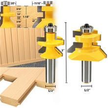 2pcs 1/2 inch X 3 inch Matched Tongue & Groove V- Notch 45 degree Router Bit Set Kit Tool(China (Mainland))