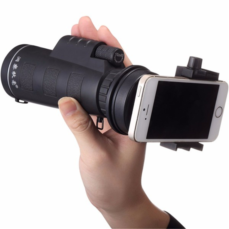 Newest Universal Common 10x40 Hiking Concert Cellphone Camera Lens Zoom Telescope Camera Lens Phone Holder For Smartphone(China (Mainland))