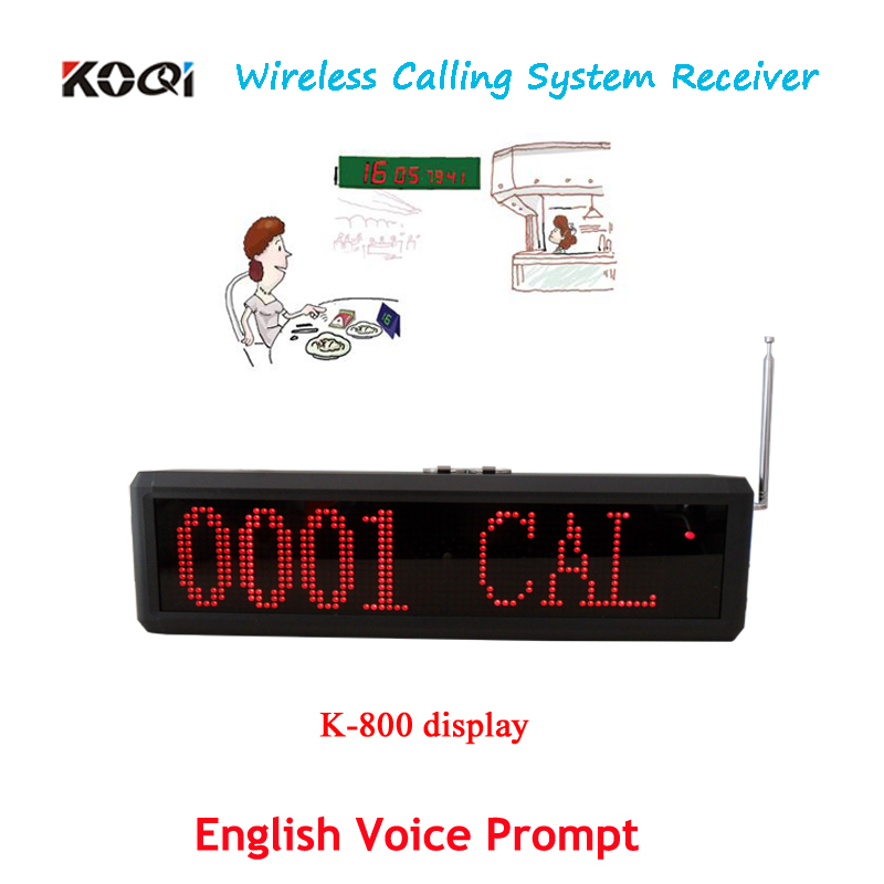 Display Receiver K-800 for Wireless Calling System Wall mounted with English voice prompt(China (Mainland))