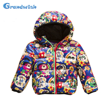 Grandwish New Winter Boys Cartoon Down Jackets Kids Animals Print Parkas Hooded Warm Coat Outerwear Kids Clothing 24M-10T, SC320