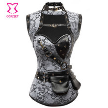 Steampunk Corset 6XL Corpetes E Espartilhos Gothic Clothing With Jacket Belt Burlesque Outfit Waist Training Corsets Steel Boned