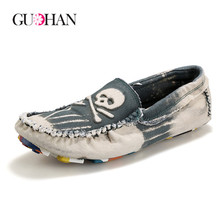 Washed Denim Shoes for Men Fashion Cool Skull Creepers Slip on Loafers Soft Walk Flats Mens Shoes Casual Driving Chaussure Homme