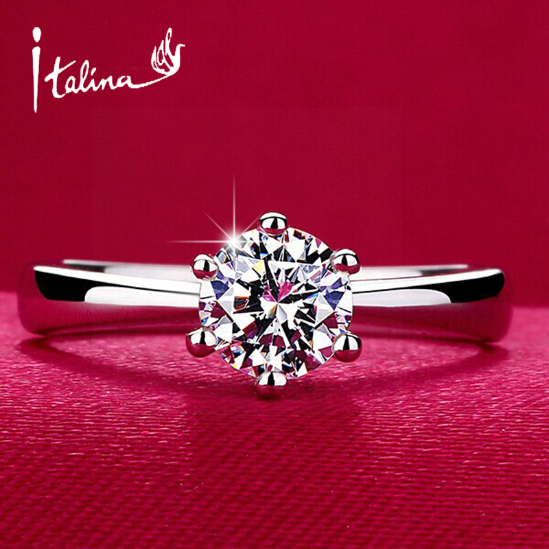 Italina 1carat 6mm CZ diamond wedding Rings for women Anel 925 sterling silver Jewelry Engagement rings female Aneis anillos(China (Mainland))