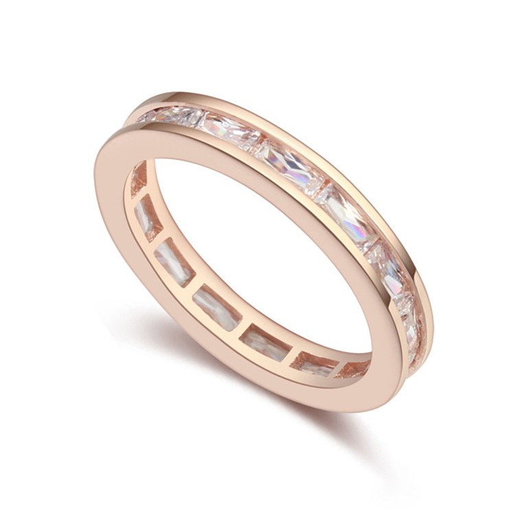 new brand design fashion woman sell well 18K gold ring romantic style square CZ Ring 110237(China (Mainland))