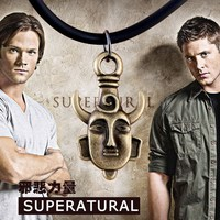Fashion Supernatural Dean Winchester mask Vintage Amulet Pendant Unique Double Sided Printed Pattern Necklace Jewelry