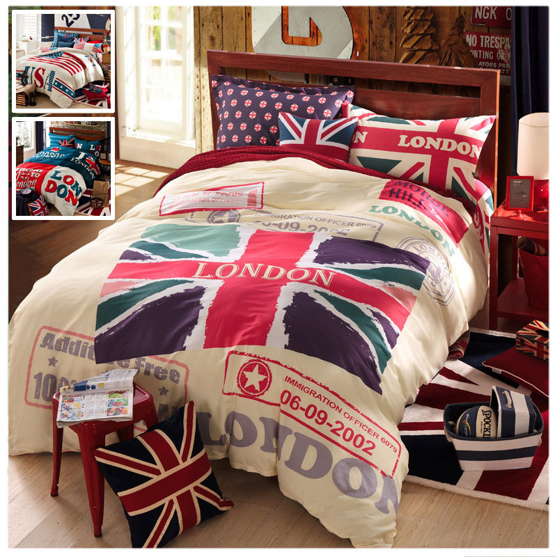 Popular uk flag bedding buy cheap uk flag bedding lots for Housse de couette in english