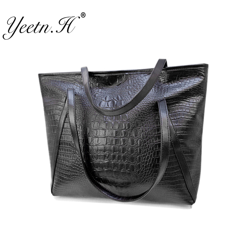2016 Hot Sale New Arrival Alligator Leather Women Handbag Fashion Daily Casual Tote Bags Street Style Black Shoulder Bag M5652(China (Mainland))