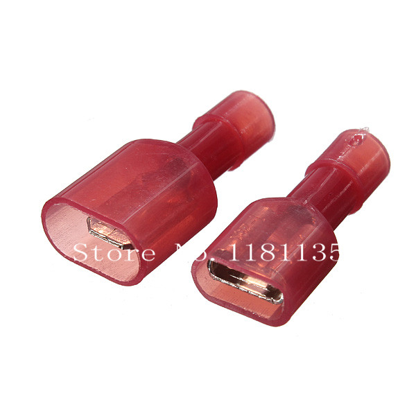 New Arrvial 50Pcs Female Male Insulated Wiring Wire Crimp Terminals Connectors Spade Kit 22 18 AWG