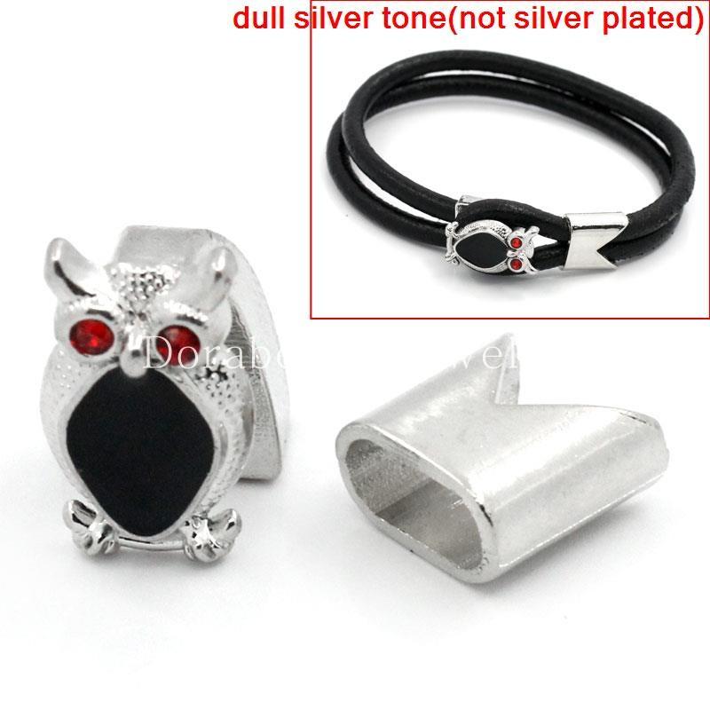 Toggle Clasps Owl Silver Tone Enamel Black Red Rhinestone 19x15mm 13x13mm,3 Sets (B25685), yiwu(China (Mainland))