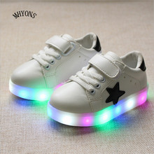 Hot 2016 Fashion Brand Boys Girls LED Light Shoes Kids Sneakers Luminous Glow Sole Children LED Sneakers Boys Casual Sport Shoes