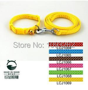 Free shipping (6 colors) 6pcs/lot Pet Dog Dots Print Collar Leash Lead Set 1.0cm LCJ1064(China (Mainland))