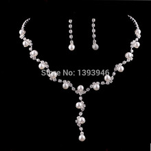 Free Shipping Fashion Prom Wedding Bridal Crystal Rhinestone Necklace Earring Jewelry Set(China (Mainland))