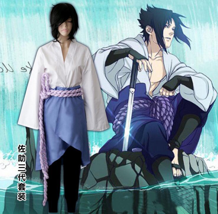 Naruto Shippuuden Uchiha Sasuke Cosplay Costume Sasuke 3rd Generation Uniform Full Set ( Top + Pants + Skirt + Rope + Armguard )(China (Mainland))