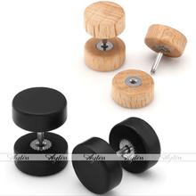 2x 10mm Organic Wood Stainless Steel Ebony Blackwood Barbell Stud Mens Earring(China (Mainland))