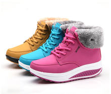 2013 Warm Winter Cotton Padded Snow shoes Women'S High Platform Shook Plus Velvet High-Top Heavy-Bottomed Lace shoes H2097(China (Mainland))